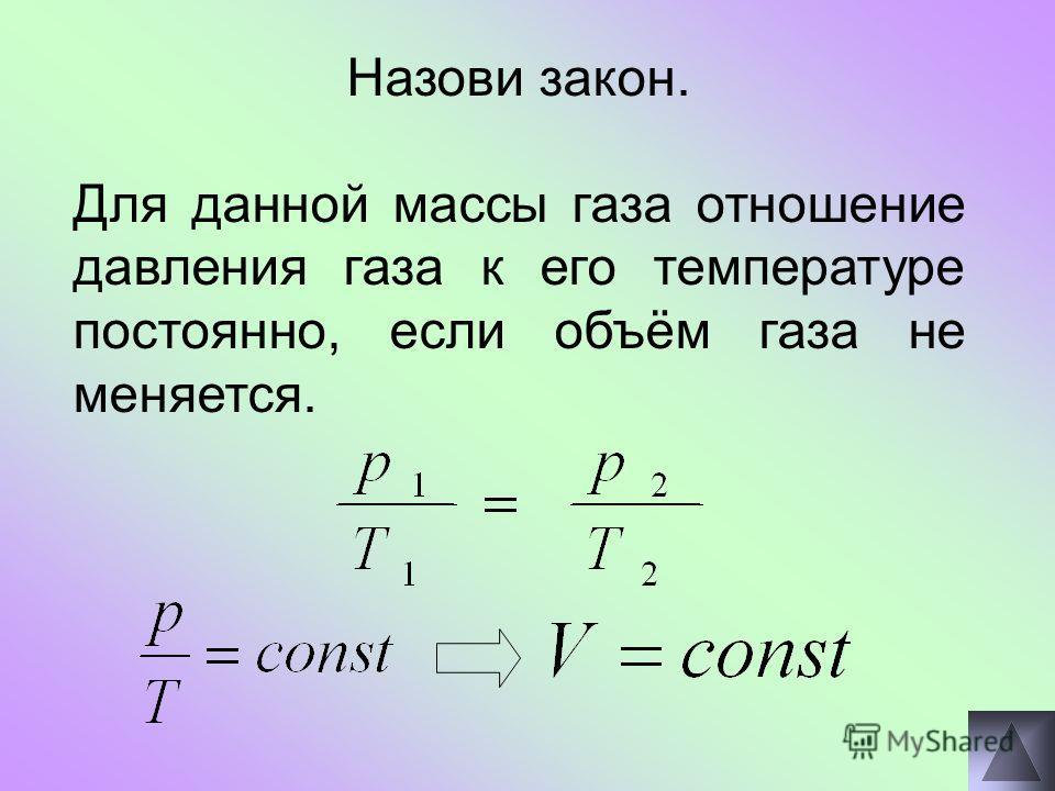 Назови закон. Для данной массы газа отношение давления газа к его температуре постоянно, если объём газа не меняется.