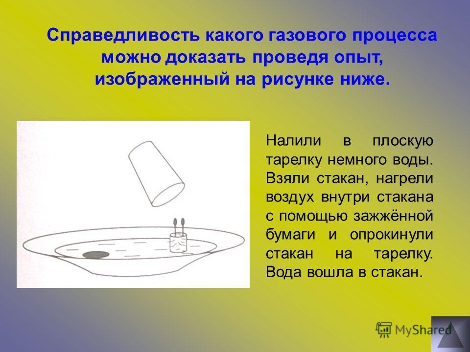 Справедливость какого газового процесса можно доказать проведя опыт, изображенный на рисунке ниже. Налили в плоскую тарелку немного воды. Взяли стакан, нагрели воздух внутри стакана с помощью зажжённой бумаги и опрокинули стакан на тарелку. Вода вошл