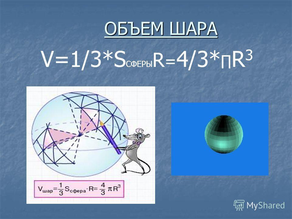ОБЪЕМ ШАРА V=1/3*S СФЕРЫ R = 4/3* R 3