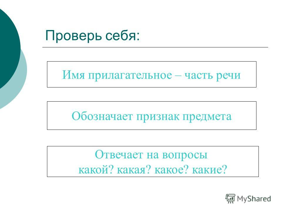 Проверь себя: Имя прилагательное – часть речи Обозначает признак предмета Отвечает на вопросы какой? какая? какое? какие?