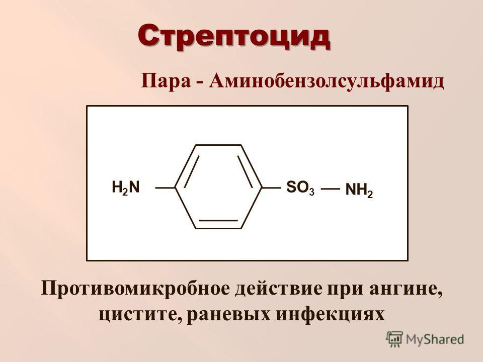 Стрептоцид NH 2 H2NH2NSO 3 Пара - Аминобензолсульфамид Противомикробное действие при ангине, цистите, раневых инфекциях