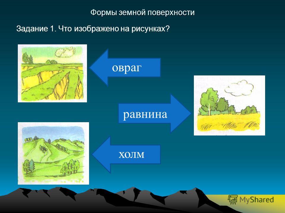 равнина Формы земной поверхности Задание 1. Что изображено на рисунках? овраг холм