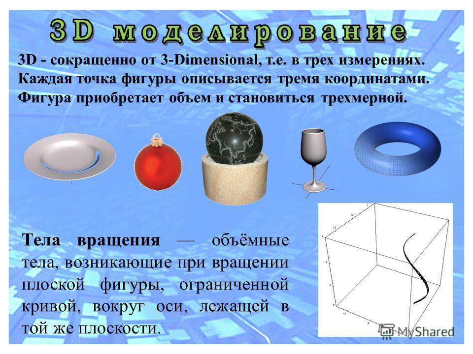 3D - сокращенно от 3-Dimensional, т.е. в трех измерениях. Каждая точка фигуры описывается тремя координатами. Фигура приобретает объем и становиться трехмерной. Тела вращения объёмные тела, возникающие при вращении плоской фигуры, ограниченной кривой