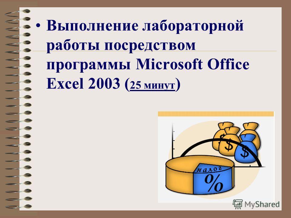 Выполнение лабораторной работы посредством программы Microsoft Office Excel 2003 ( 25 минут )