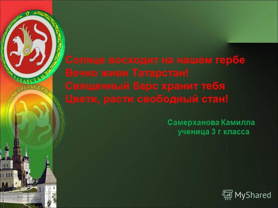 Солнце восходит на нашем гербе Вечно живи Татарстан! Священный барс хранит тебя Цвети, расти свободный стан! Самерханова Камилла ученица 3 г класса