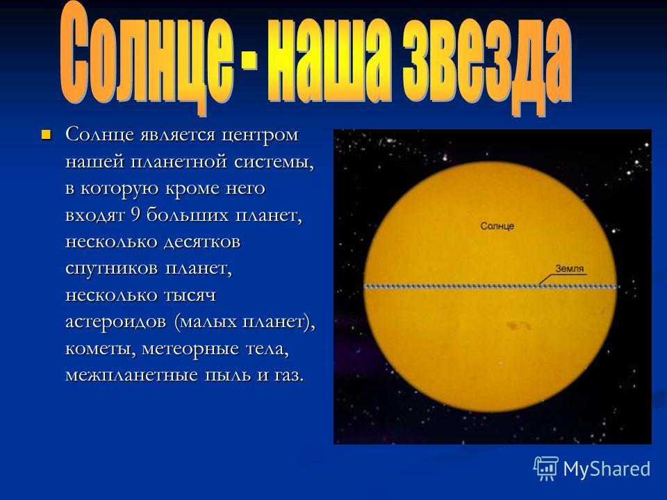 Солнце является центром нашей планетной системы, в которую кроме него входят 9 больших планет, несколько десятков спутников планет, несколько тысяч астероидов (малых планет), кометы, метеорные тела, межпланетные пыль и газ.