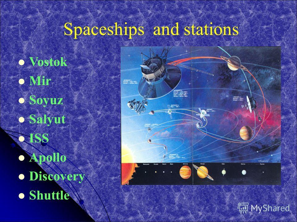 Spaceships and stations Vostok Mir Soyuz Salyut ISS Apollo Discovery Shuttle