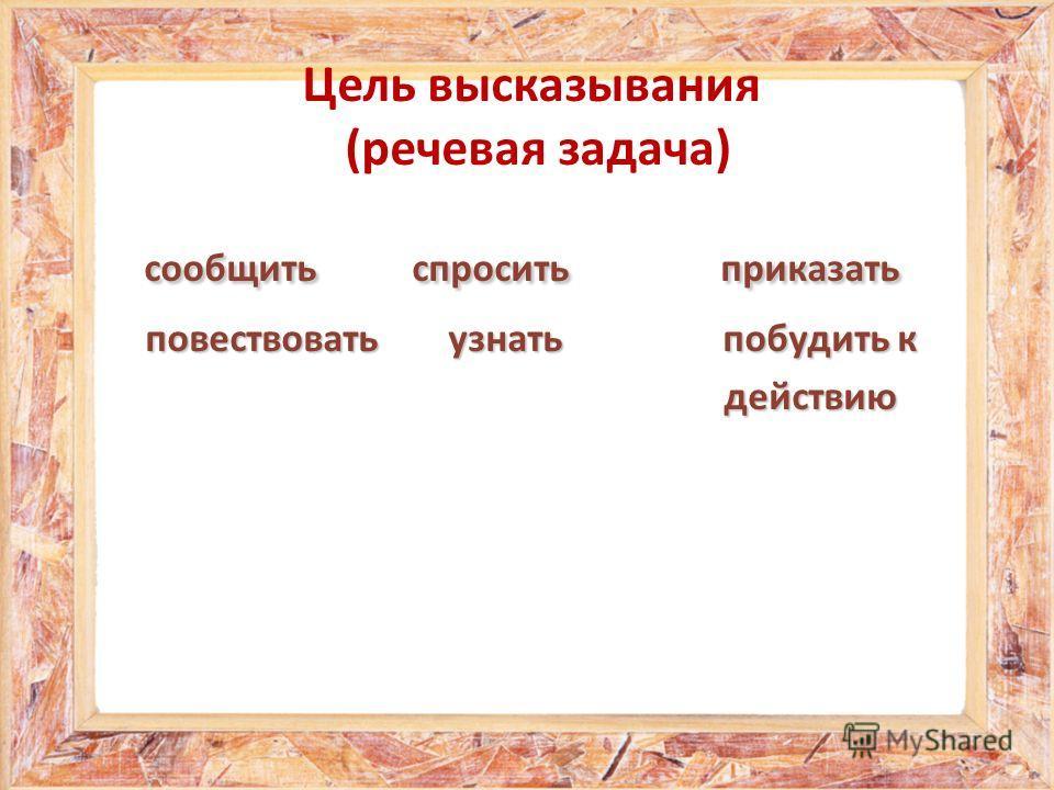 Цель высказывания (речевая задача) сообщить спросить приказать сообщить спросить приказать повествовать узнать побудить к повествовать узнать побудить к действию действию