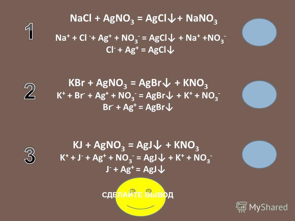 NaCl KBr KJ AgNO 3 NaCl + AgNO 3 = AgCl+ … Na + + Cl - + Ag + + … - = AgCl + Na + +… - Cl - + Ag + = AgCl