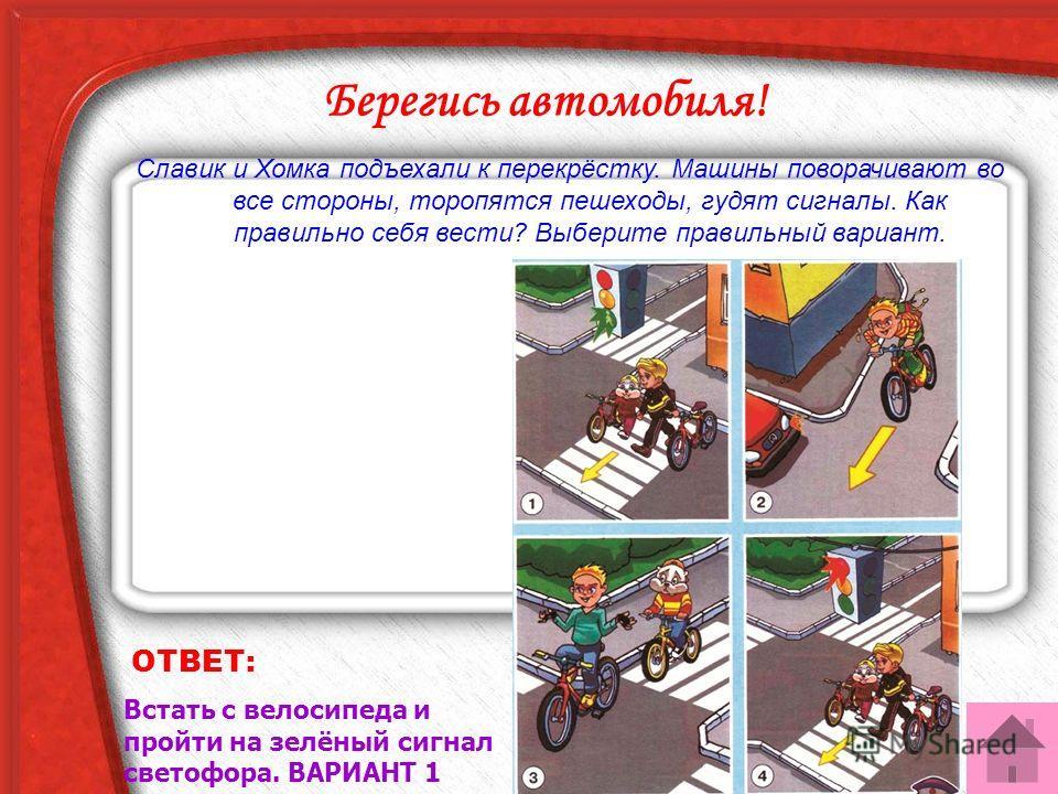 ОТВЕТ: Встать с велосипеда и пройти на зелёный сигнал светофора. ВАРИАНТ 1 Берегись автомобиля! Славик и Хомка подъехали к перекрёстку. Машины поворачивают во все стороны, торопятся пешеходы, гудят сигналы. Как правильно себя вести? Выберите правильн