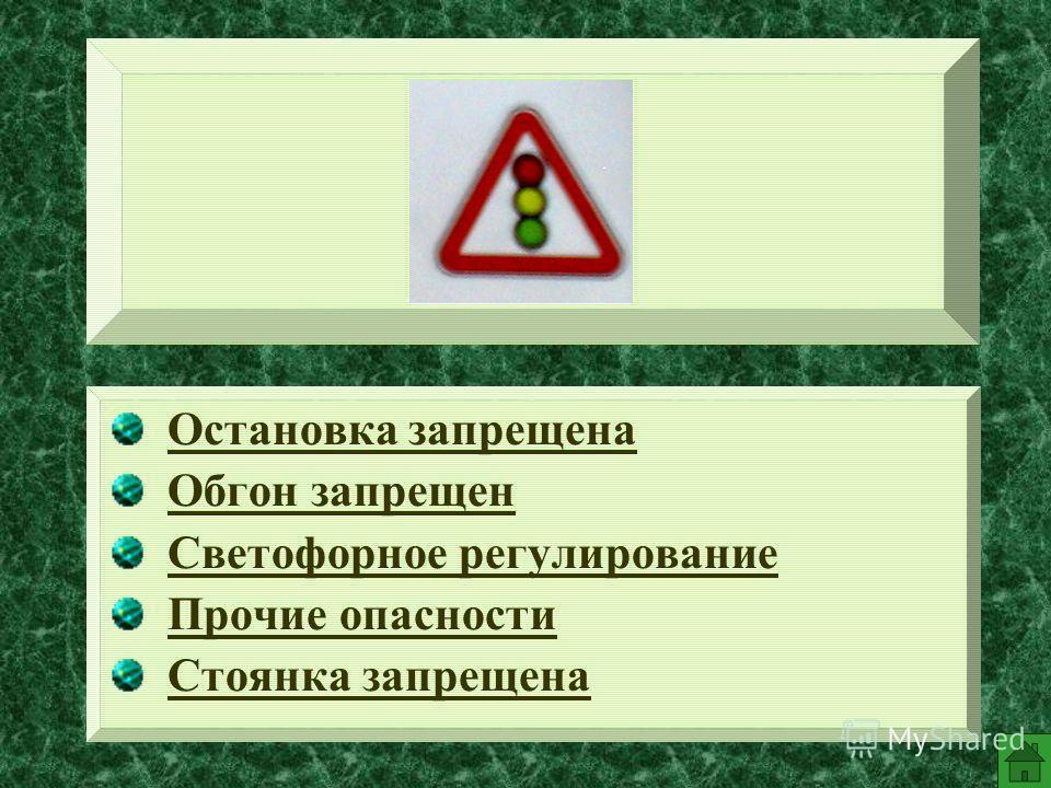 Остановка запрещена Обгон запрещен Светофорное регулирование Прочие опасности Стоянка запрещена