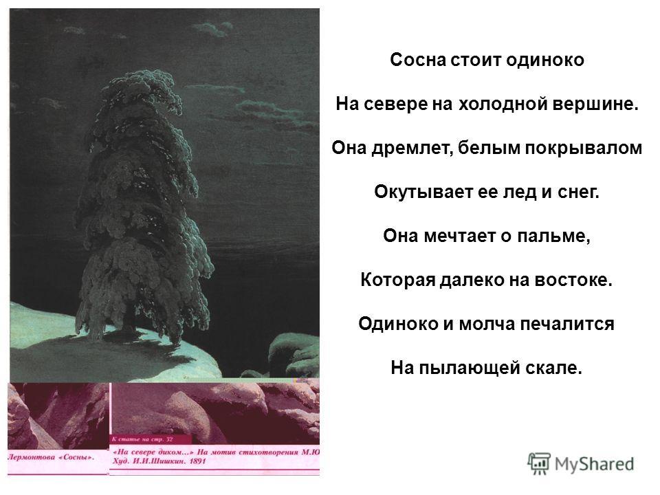 Сосна стоит одиноко На севере на холодной вершине. Она дремлет, белым покрывалом Окутывает ее лед и снег. Она мечтает о пальме, Которая далеко на востоке. Одиноко и молча печалится На пылающей скале.