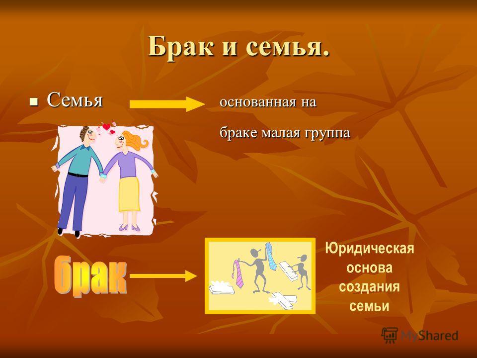 Брак и семья. Семья основанная на Семья основанная на браке малая группа браке малая группа Юридическая основа создания семьи