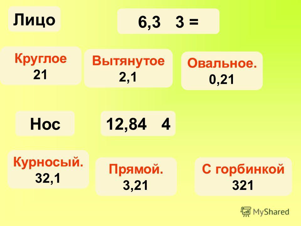 6,3 3 = Овальное. 0,21 Круглое 21 Вытянутое 2,1 12,84 4 С горбинкой 321 Прямой. 3,21 Курносый. 32,1 Лицо Нос