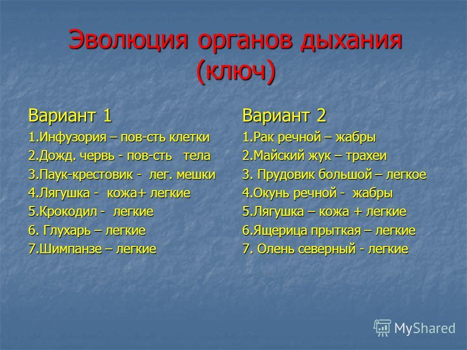 Эволюция органов дыхания (ключ) Вариант 1 1.Инфузория – пов-сть клетки 2.Дожд. червь - пов-сть тела 3.Паук-крестовик - лег. мешки 4.Лягушка - кожа+ легкие 5.Крокодил - легкие 6. Глухарь – легкие 7.Шимпанзе – легкие Вариант 2 1.Рак речной – жабры 2.Ма