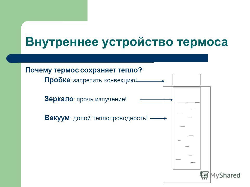 Внутреннее устройство термоса Почему термос сохраняет тепло? Пробка : запретить конвекцию! Зеркало : прочь излучение! Вакуум : долой теплопроводность!