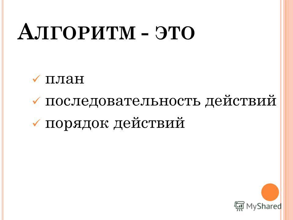 А ЛГОРИТМ - ЭТО план последовательность действий порядок действий