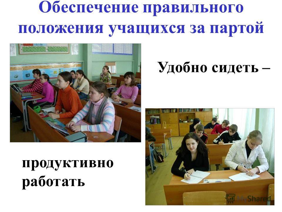 Обеспечение правильного положения учащихся за партой продуктивно работать Удобно сидеть –