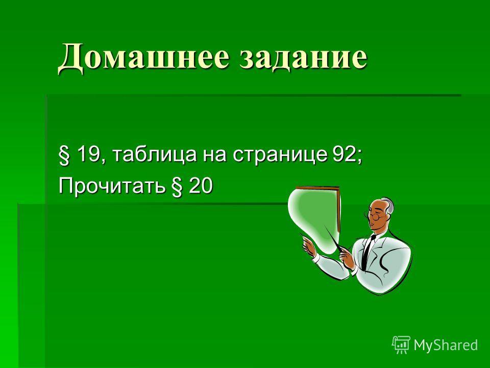 Домашнее задание § 19, таблица на странице 92; Прочитать § 20