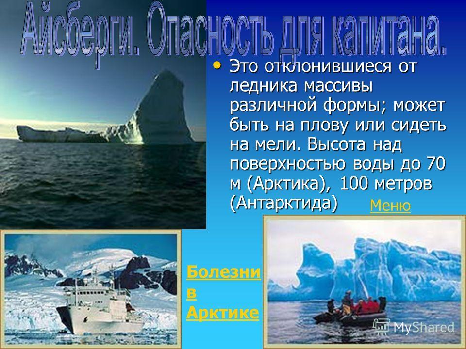Полярный день Опасность айсбергов Опасность айсбергов Болезни в Арктике Арктическая природа