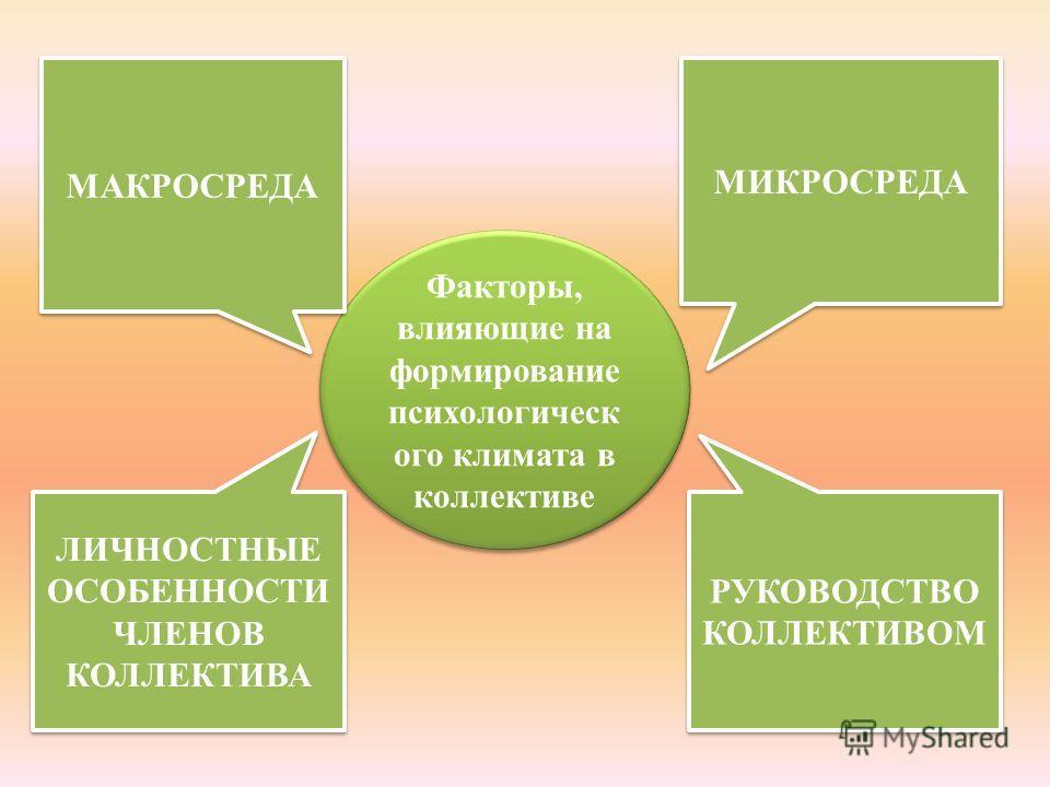 Факторы, влияющие на формирование психологическ ого климата в коллективе МИКРОСРЕДА ЛИЧНОСТНЫЕ ОСОБЕННОСТИ ЧЛЕНОВ КОЛЛЕКТИВА МАКРОСРЕДА РУКОВОДСТВО КОЛЛЕКТИВОМ
