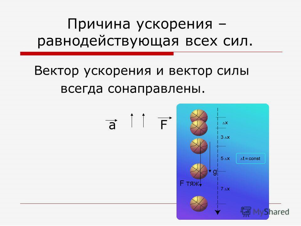 Причина ускорения – равнодействующая всех сил. Вектор ускорения и вектор силы всегда сонаправлены. a F F тяж g