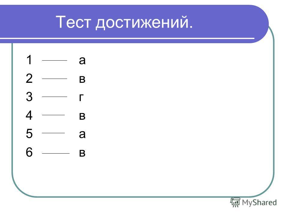 Тест достижений. 1 а 2 в 3 г 4 в 5 а 6 в