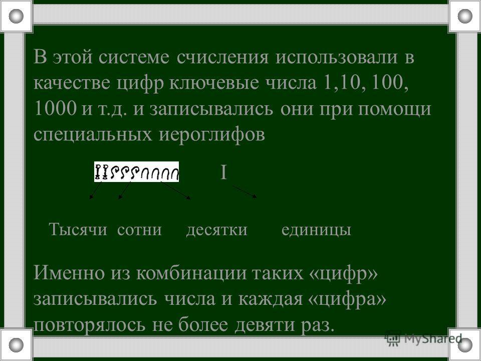 В этой системе счисления использовали в качестве цифр ключевые числа 1,10, 100, 1000 и т.д. и записывались они при помощи специальных иероглифов I Тысячи сотни десятки единицы Именно из комбинации таких «цифр» записывались числа и каждая «цифра» повт