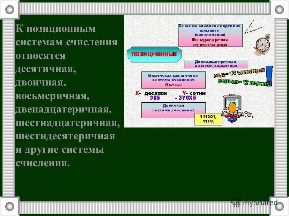 К позиционным системам счисления относятся десятичная, двоичная, восьмеричная, двенадцатеричная, шестнадцатеричная, шестидесятеричная и другие системы счисления.