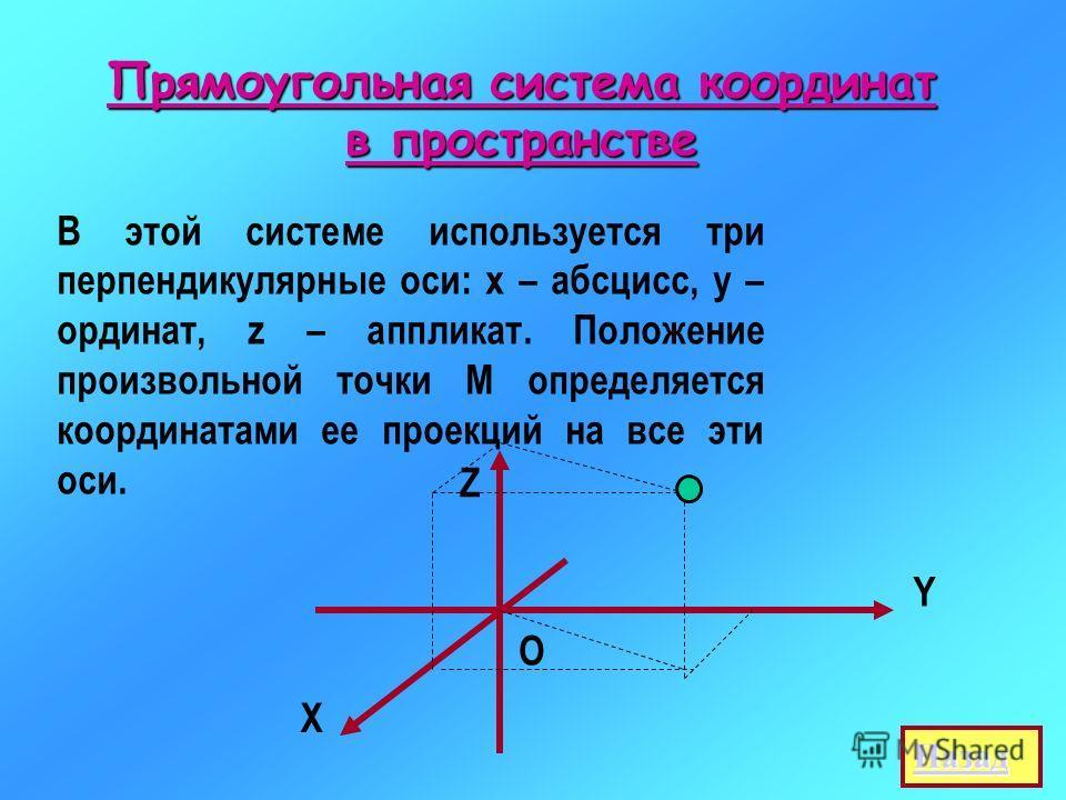 Прямоугольная система координат в пространстве В этой системе используется три перпендикулярные оси: х – абсцисс, у – ординат, z – аппликат. Положение произвольной точки М определяется координатами ее проекций на все эти оси. Y Х Z О Назад