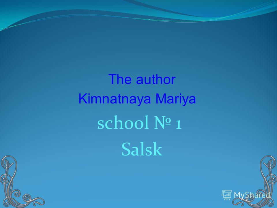 The author Kimnatnaya Mariya school 1 Salsk