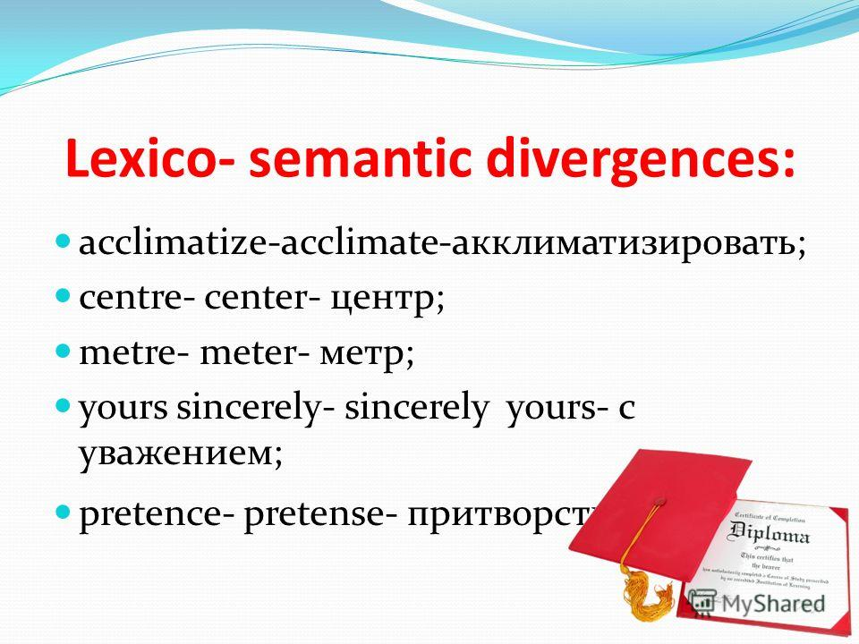 Lexico- semantic divergences: acclimatize-acclimate-акклиматизировать; centre- center- центр; metre- meter- метр; yours sincerely- sincerely yours- с уважением; pretence- pretense- притворство.