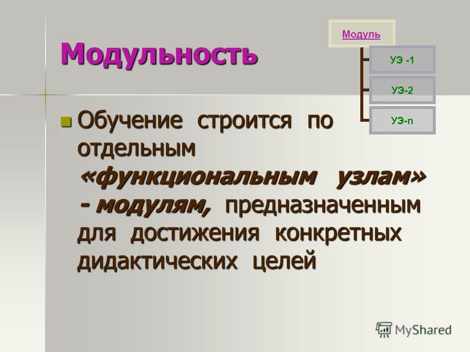 Модульность Обучение строится по отдельным «функциональным узлам» - модулям, предназначенным для достижения конкретных дидактических целей Обучение строится по отдельным «функциональным узлам» - модулям, предназначенным для достижения конкретных дида