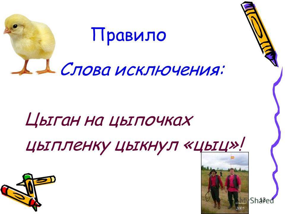 13 Правило Слова исключения: Цыган на цыпочках цыпленку цыкнул «цыц»!