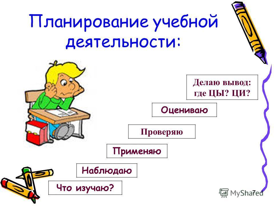 7 Планирование учебной деятельности: Что изучаю? Наблюдаю Делаю вывод: где ЦЫ? ЦИ? Оцениваю Применяю Проверяю