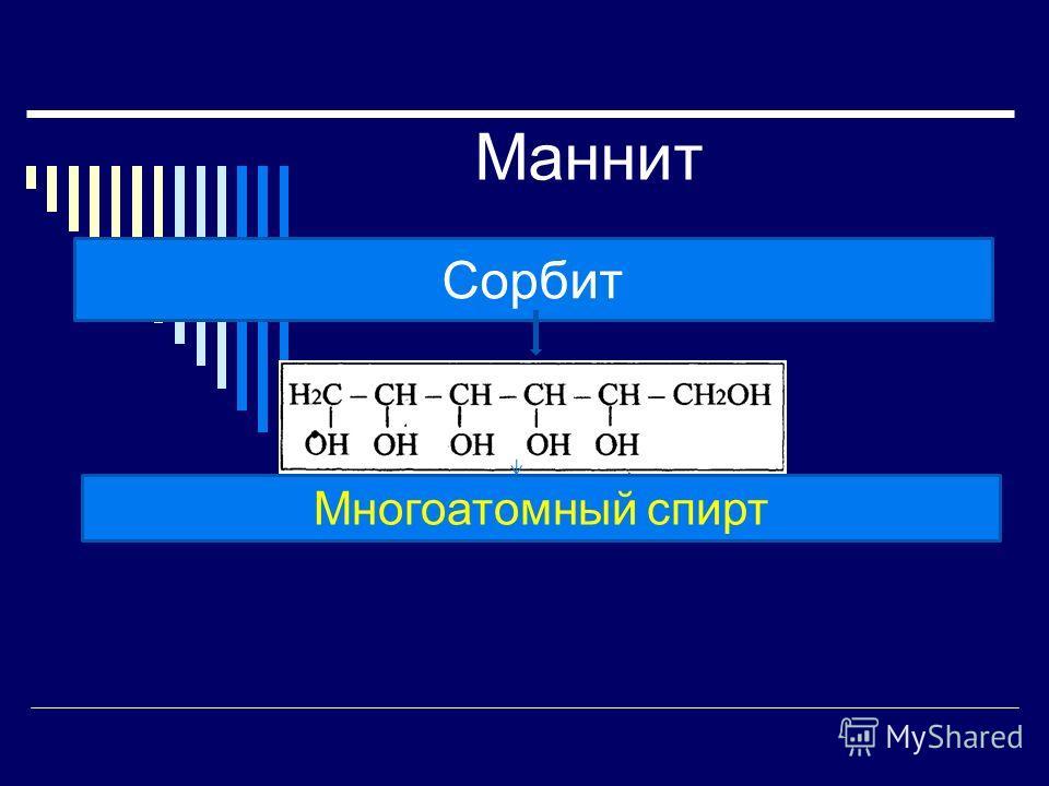 Маннит Маннит шестиатомный спирт, содержится во многих растениях.спирт Сорбит – является составной частью маннита. Сорбит часто применяется как заменитель сахара, его можно встретить в диетических продуктах и диетических напитках. Вещество считается