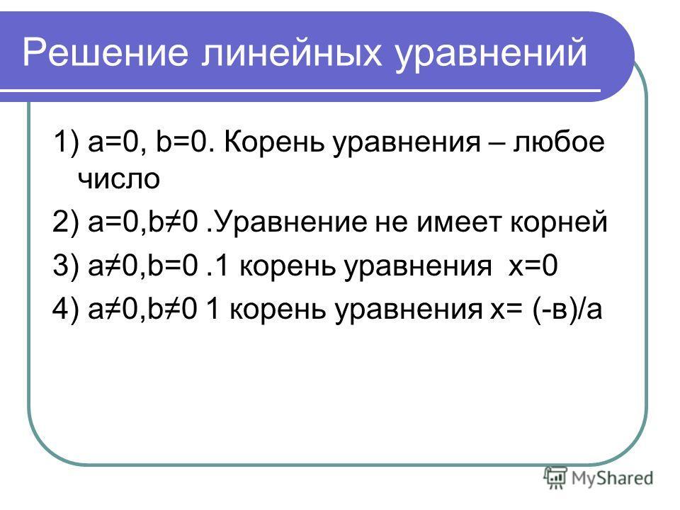 Решение линейных уравнений 1) а=0, b=0. Корень уравнения – любое число 2) а=0,b0.Уравнение не имеет корней 3) а0,b=0.1 корень уравнения х=0 4) а0,b0 1 корень уравнения х= (-в)/а