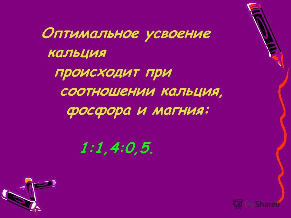 Оптимальное усвоение кальция происходит при соотношении кальция, фосфора и магния: 1:1,4:0,5.