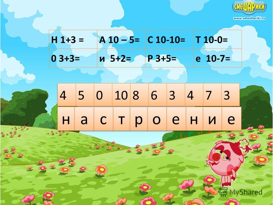 Н 1+3 =А 10 – 5=С 10-10=Т 10-0= 0 3+3=и 5+2=Р 3+5=е 10-7= н н а а т т и и с с н н е е о о р р е е