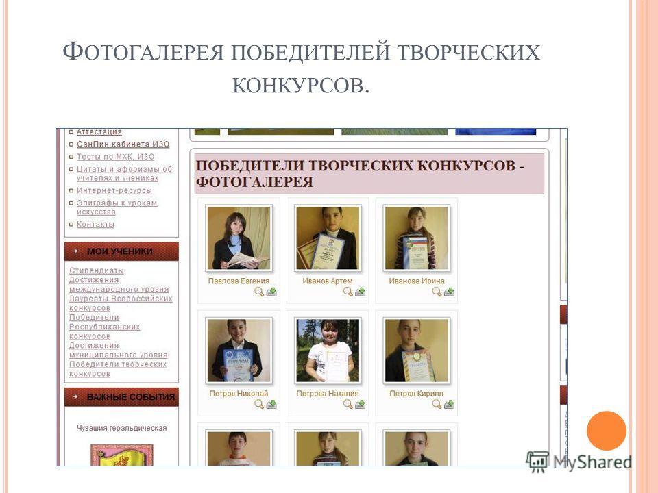 Ф ОТОГАЛЕРЕЯ ПОБЕДИТЕЛЕЙ ТВОРЧЕСКИХ КОНКУРСОВ.