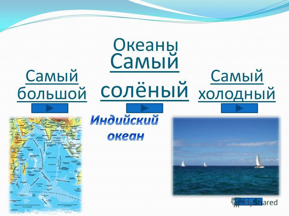 Океаны Самый большой Самый солёный Самый холодный