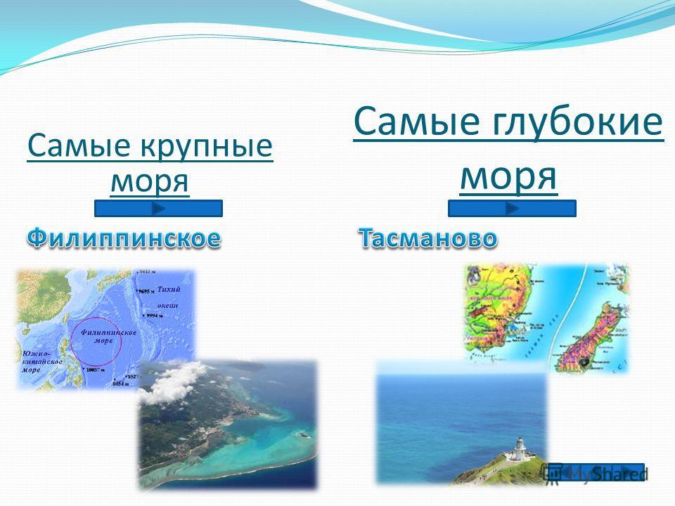 Самые крупные моря Самые глубокие моря