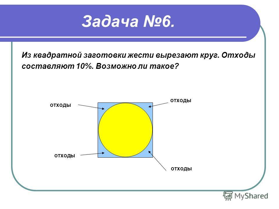 Задача 6. Из квадратной заготовки жести вырезают круг. Отходы составляют 10%. Возможно ли такое? отходы