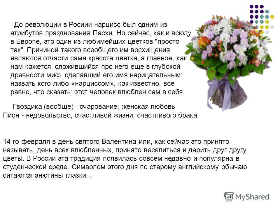 До революции в Росиии нарцисс был одним из атрибутов празднования Пасхи. Но сейчас, как и всюду в Европе, это один из любимейших цветков