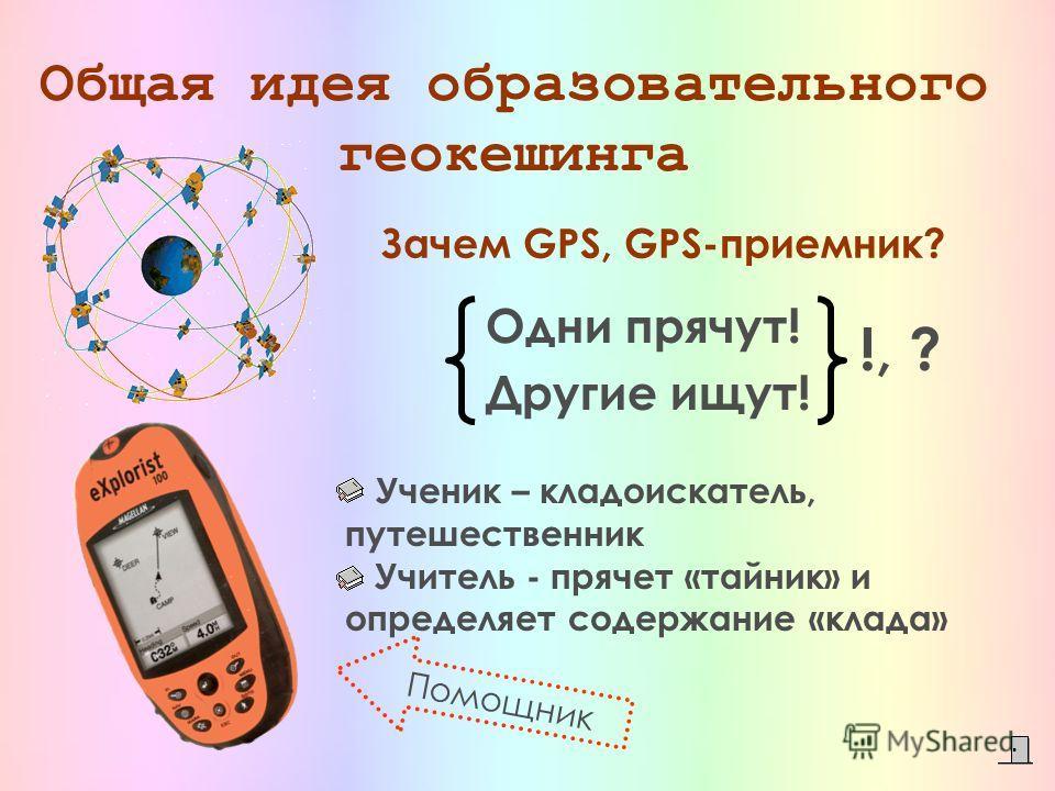 Зачем GPS, GPS-приемник? Одни прячут! Другие ищут! !, ? Общая идея образовательного геокешинга Ученик – кладоискатель, путешественник Учитель - прячет «тайник» и определяет содержание «клада» Помощник