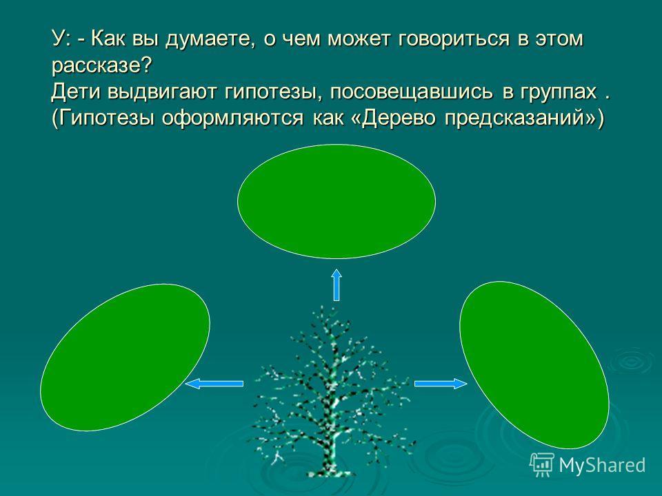 У: - Как вы думаете, о чем может говориться в этом рассказе? Дети выдвигают гипотезы, посовещавшись в группах. (Гипотезы оформляются как «Дерево предсказаний»)
