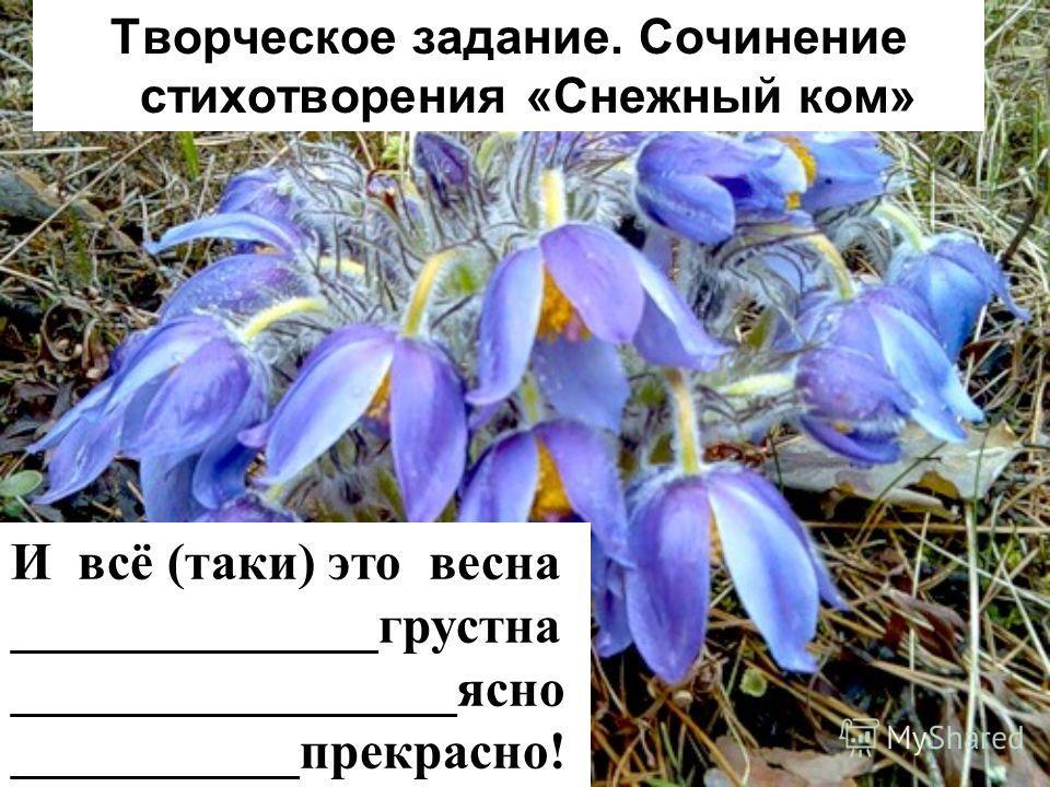 Творческое задание. Сочинение стихотворения «Снежный ком» И всё (таки) это весна ______________грустна _________________ясно ___________прекрасно!