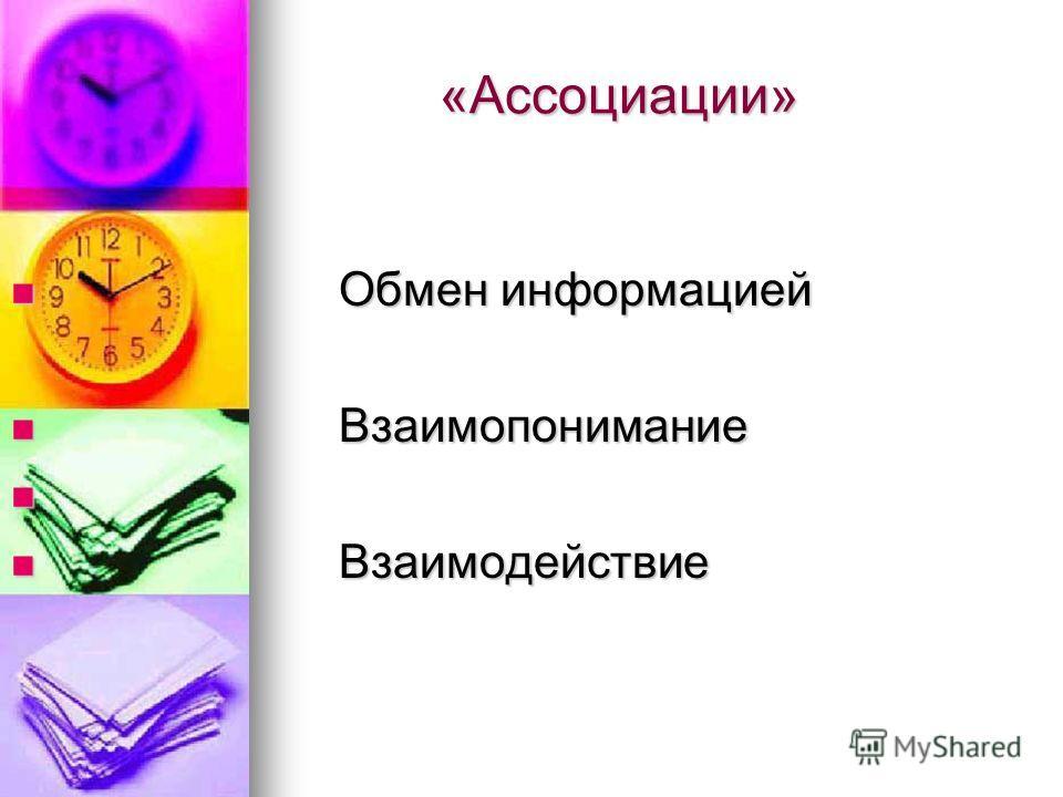 «Ассоциации» «Ассоциации» Обмен информацией Обмен информацией Взаимопонимание Взаимопонимание Взаимодействие Взаимодействие