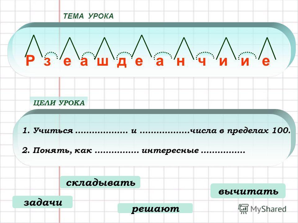 1.Учиться................... и …...............числа в пределах 100. 2. Понять, как ……………. интересные ……………. ЦЕЛИ УРОКА ТЕМА УРОКА Р з е а ш д е а н ч и и е складывать задачи решают вычитать