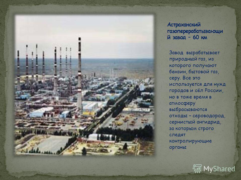 Завод вырабатывает природный газ, из которого получают бензин, бытовой газ, серу. Все это используется для нужд городов и сёл России, но в тоже время в атмосферу выбрасываются отходы – сероводород, сернистый ангидрид, за которым строго следят контрол